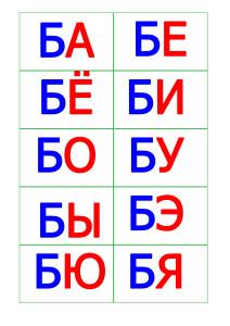 карточки со слогами русские буквы